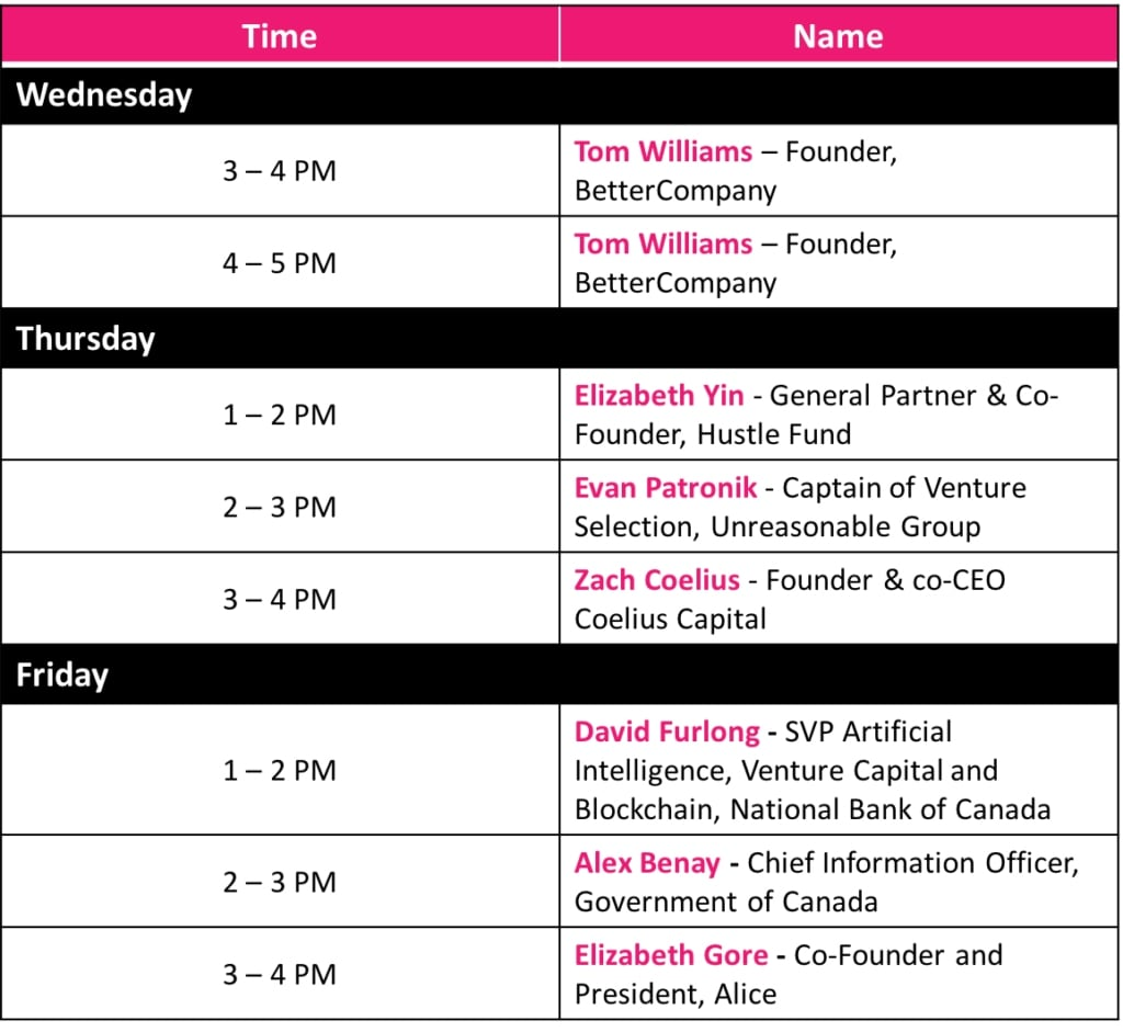 Mentor and CIO Lounge Schedule
